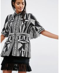 Anna Sui Fitted Jacket In Bark Cloth Jacquard - Black