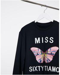Miss Sixty Jamie Butterfly Print Sweat-black