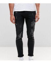 Brooklyn Supply Co. Super Skinny Jeans Slashed Rips Washed Dark Indigo - Blue