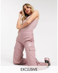 PUMA Cargo Wide Leg Trousers - Pink