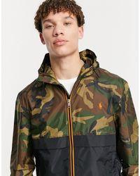 Polo Ralph Lauren Черная Куртка-дождевик С Зеленым Камуфляжным Принтом И Логотипом-игроком -зеленый Цвет