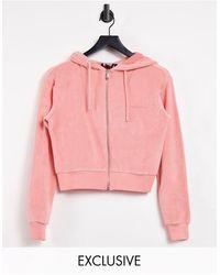 Reclaimed (vintage) Inspired Zip Front Hoodie - Pink