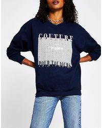 River Island Sweat-shirt à motif monogramme et inscription Couture - Bleu marine