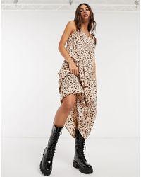 TOPSHOP - Коричневое Платье С Драпировкой На Талии -коричневый Цвет - Lyst