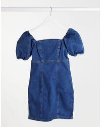 New Look Puff Sleeve Denim Mini Dress - Blue