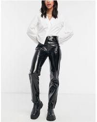 River Island Pantalon droit en vinyle imitation cuir - Noir