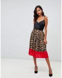 Liquorish - Leopard Print Pleated Midi Skirt With Contrast Hem - Lyst