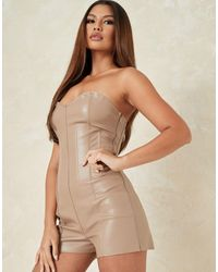 Missguided Co-ord Faux Leather Playsuit With Corset Detail - Purple