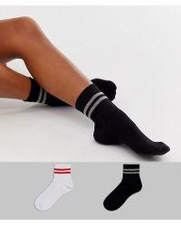 ASOS 2 Pack Stripe Ankle Socks - Multicolour