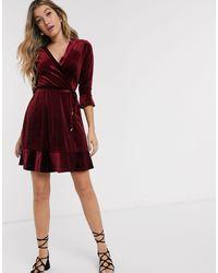 Oasis Velvet Wrap Dress - Red