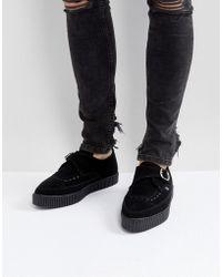 T.U.K. Vegan Suede Pointed Buckle Creeper Shoes - Black