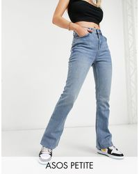 ASOS Asos Design Petite High Rise '70s' Stretch Flare Jeans - Blue