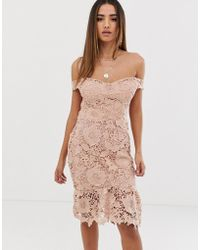 Missguided - Lace Bardot Bodycon Dress In Nude - Lyst
