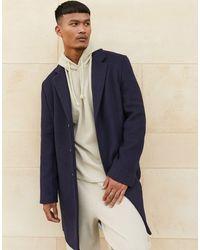 ASOS Unlined Wool Mix Overcoat - Blue