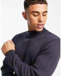 Threadbare – gerippter strickpullover aus baumwolle mit rollkragen - Schwarz