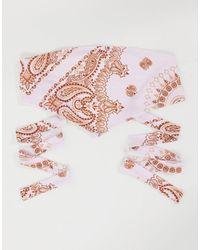 ASOS Top bandeau style bandana à motif cachemire - Crème - Rose