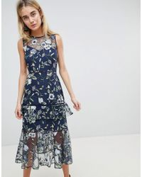 Warehouse   Floral Embroidered Tiered Midi Dress   Lyst