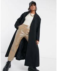 Weekday Строгое Шерстяное Пальто Удлиненного Кроя Черного Цвета Sanne-черный