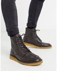SELECTED - Коричневые Ботинки На Крепированной Подошве Со Шнуровкой -коричневый - Lyst