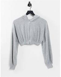 Pull&Bear Cropped Hoodie Co-ord - Grey