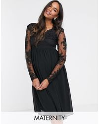 Chi Chi London Lace Midi Dress With Sheer Sleeves - Black