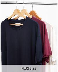 TOPMAN Big & Tall 3 Pack Longline T-shirts - Purple