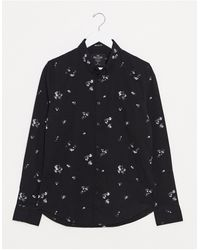 Hollister Floral Muscle Fit Long Sleeve Shirt - Black