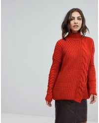 River Island - Chunky Cable Knit Sweater - Lyst