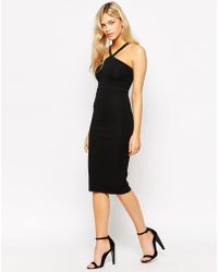 Oh My Love Halter Neck Bodycon Midi Dress - Black