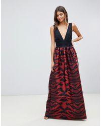 True Violet Plunge Front Maxi Dress In Tiger Print - Red