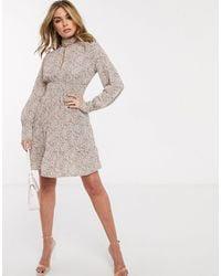 Ivyrevel Long Sleeve Shirred Waist Tiered Skater Dress - Multicolour