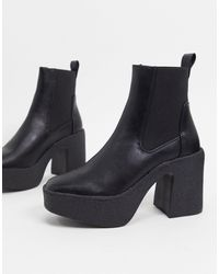 Truffle Collection Chunky Chelsea Heeled Ankle Boots - Black