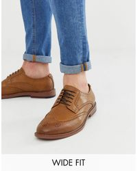 ASOS Wide Fit Brogue Shoes - Brown