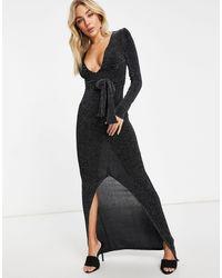 Club L London - Vestito lungo con scollo profondo nero glitterato - Lyst