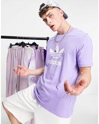 adidas Originals - T-shirt viola chiaro con trifoglio - Lyst