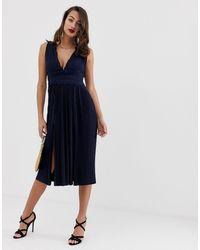 ASOS Premium - Vestito midi a pieghe con inserti - Blu