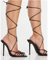 SIMMI Shoes Simmi London - Felicia - Sandali con tacco e reticolo, colore nero