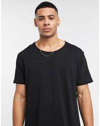 ASOS Ruimvallend T-shirt Met Lage Ronde Hals Met Onafgewerkte Rand - Zwart