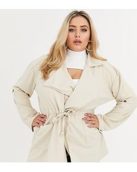 Boohoo Utility Wrap Jacket In Stone - Natural