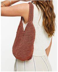 Mango Crochet Shoulder Tote Bag - Red