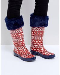 ASOS Greetings! Reindeer Wellies - Red