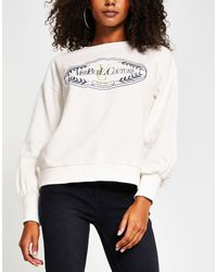 River Island Blouson Sleeve Embroidered Sweatshirt - White