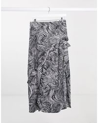 TOPSHOP Midaxi Skirt With Ruffle Detail - Multicolor