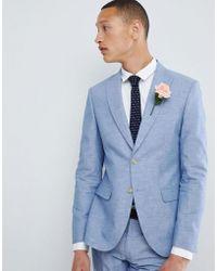 Moss Bros Giacca da abito da matrimonio skinny in lino blu