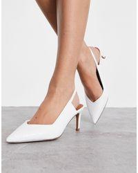 ASOS Белые Туфли На Среднем Каблуке С Ремешком Вокруг Пятки Для Широкой Стопы - Белый