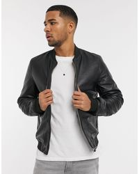ASOS Leather Bomber Jacket - Black
