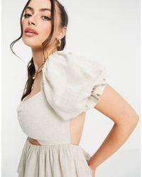 ASOS Linen Top With Cut Out And Ruched Front - Natural