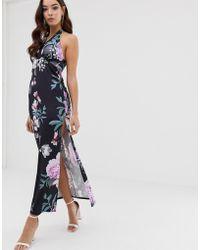 Lipsy Floral Maxi Dress - Blue
