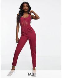 Missguided Tuta jumpsuit con corsetto bordeaux - Rosso