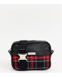 ASOS X Laquan Smith Leather Cross Body Bag With Check Panel - Black